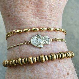 Retired Gold Alex & Ani Beaded Bangle Bracelet